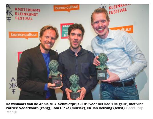 Jan Beuving, Tom Dicke en Patrick Nederkoorn winnen Annie M.G. Schmidtprijs
